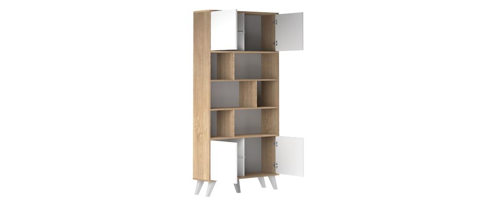 Bibliothèque scandinave bois et blanc ORIGAMI