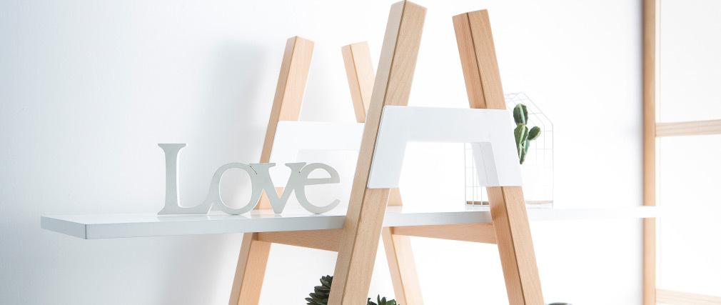 Bibliothèque scandinave bois et blanc PANCOL