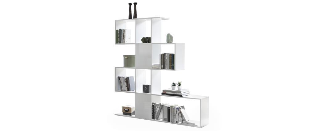 Bibliothèque séparateur design blanc laqué brillant H147 cm COMO