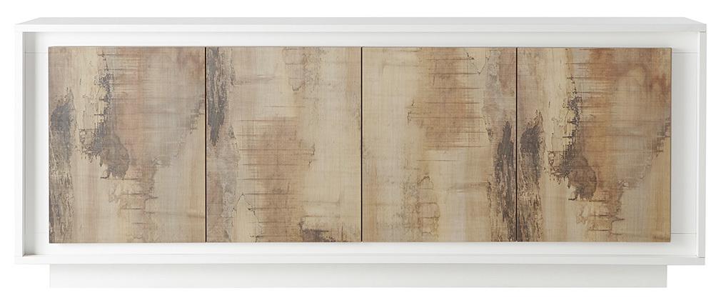 Buffet 4 portes design blanc et décor bois clair LAND