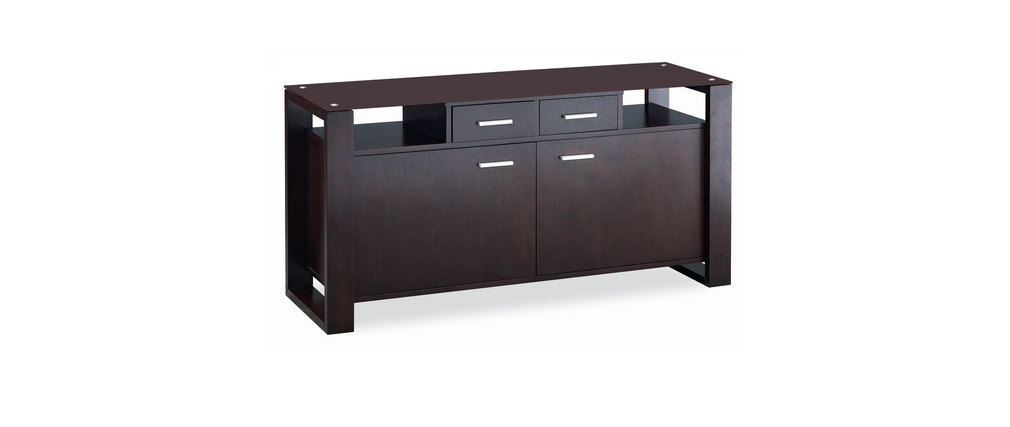 Buffet bas contemporain en ch�ne massif weng� et verre tremp� marron Layton