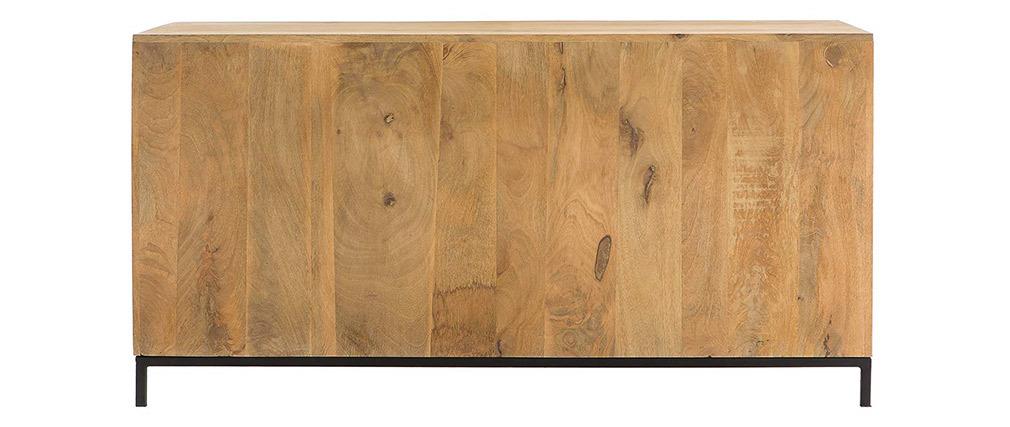 Buffet bas industriel en bois de manguier et métal perforé RACK