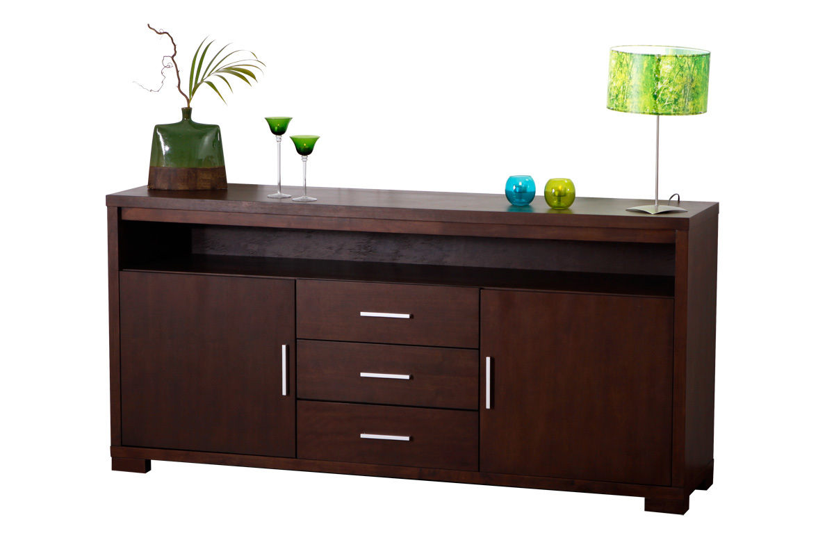 buffet bas jairo 2 portes 3 tiroirs chene coloris. Black Bedroom Furniture Sets. Home Design Ideas