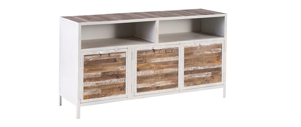 buffet bois et m tal blanc 150cm rochelle miliboo. Black Bedroom Furniture Sets. Home Design Ideas