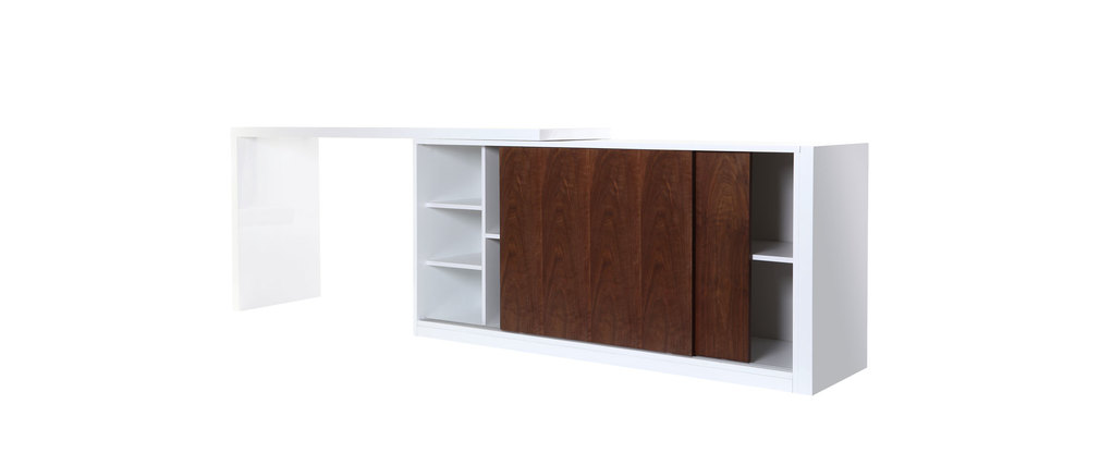 Buffet/bureau design modulable couleur noyer MAX