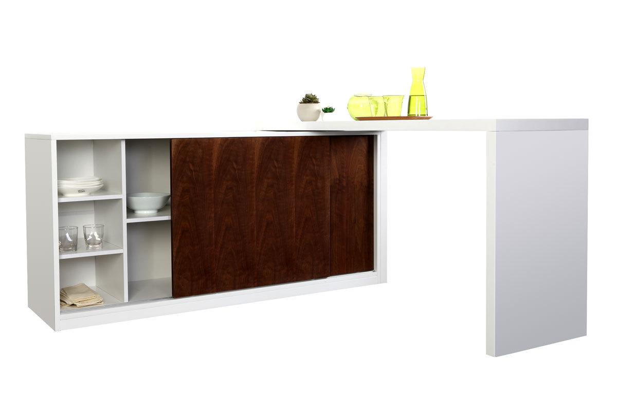 Buffet/bureau design modulable couleur noyer MAX