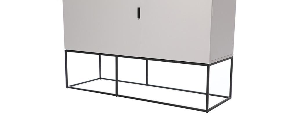 Buffet carré design taupe mat et noir YTA