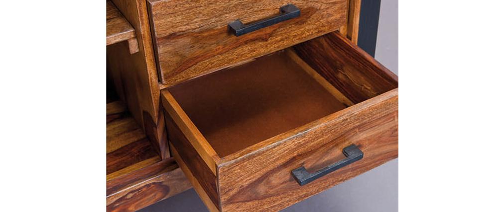 Buffet design 120x130 métal et bois de sheesham CARVED