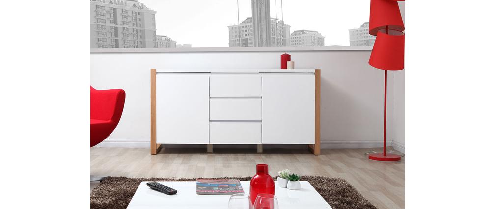 Buffet design 2 portes 3 tiroirs blanc mat ARMEL