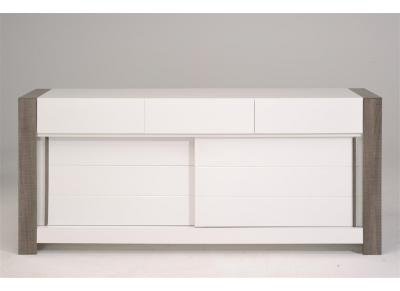 Buffet Design 2 portes 3 tiroirs Bois et blanc brillant MOCA
