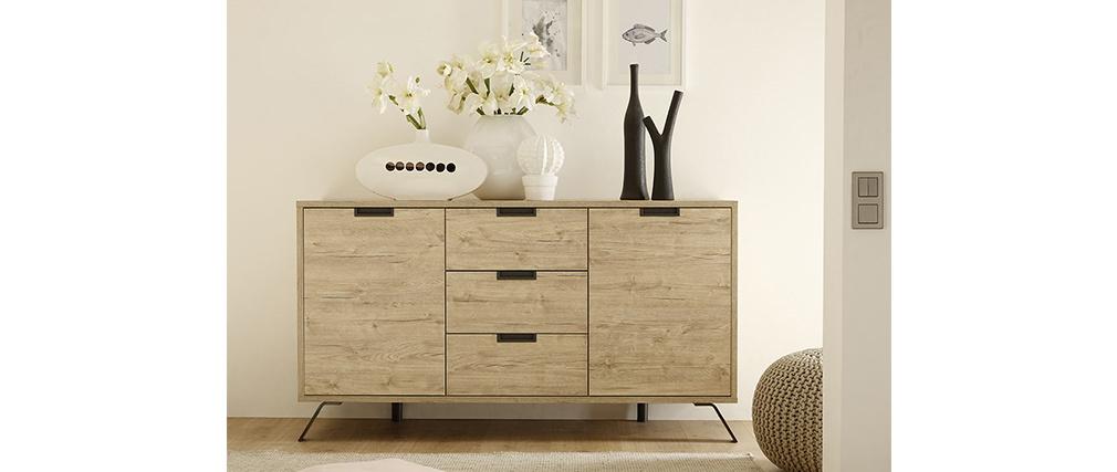 Buffet design 2 portes 3 tiroirs chêne ORIGIN