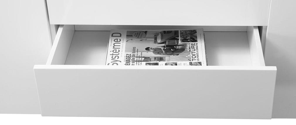 Buffet design 2 portes 4 tiroirs laqué blanc MELHA