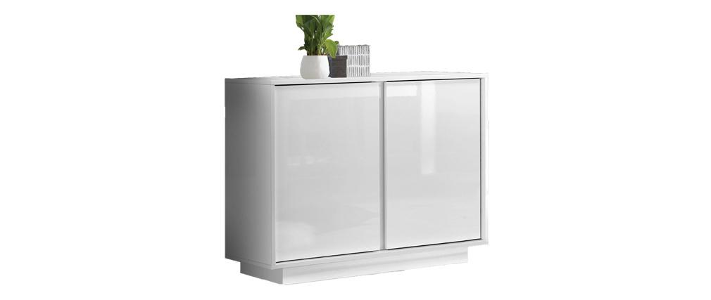 Buffet design 2 portes blanc laqué brillant L92 cm COMO