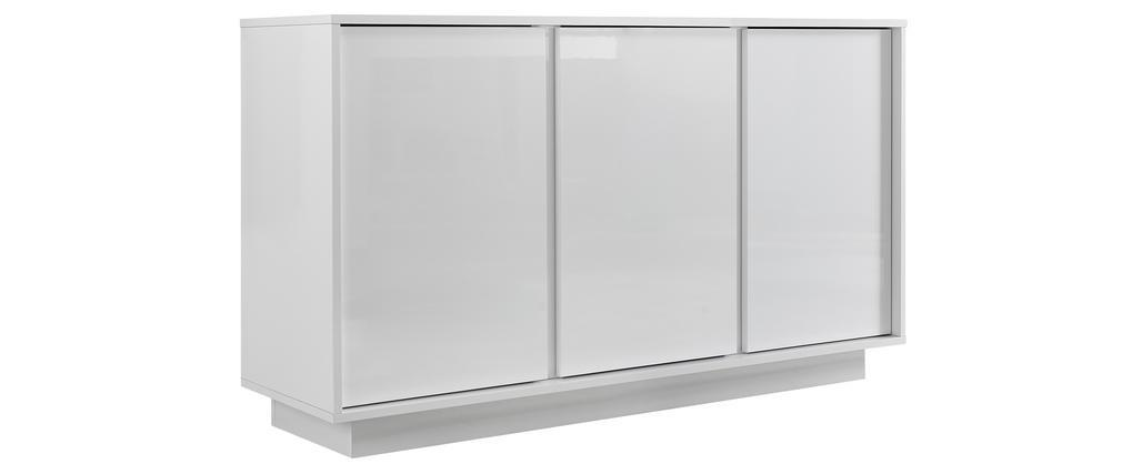 Buffet design 3 portes blanc laqué brillant L138 cm COMO
