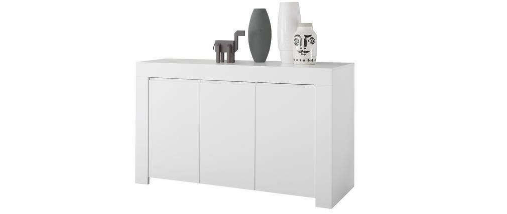 Buffet design 3 portes L138 cm blanc mat TINO