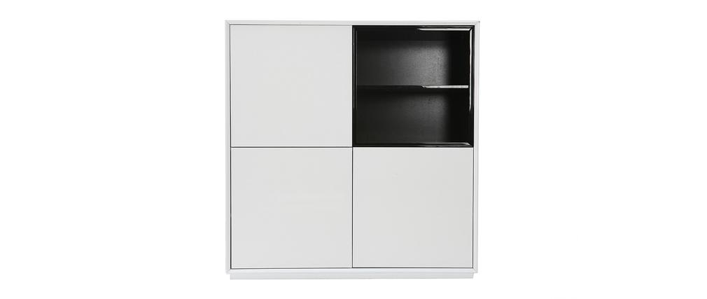 buffet design 3 portes mdf noir et blanc arty miliboo. Black Bedroom Furniture Sets. Home Design Ideas