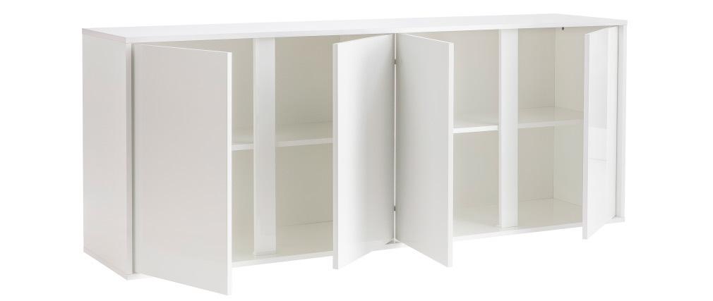 Buffet design 4 portes blanc laqué brillant L180 cm COMO