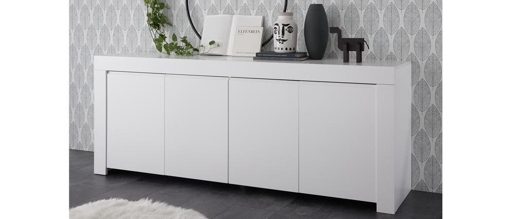 Buffet design 4 portes L210 cm blanc mat TINO