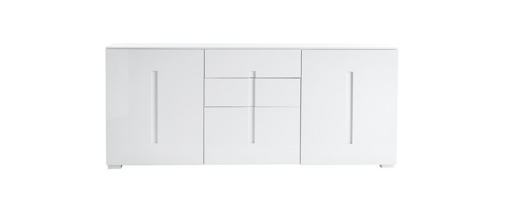 Buffet design blanc laqué 2 portes 3 tiroirs TED
