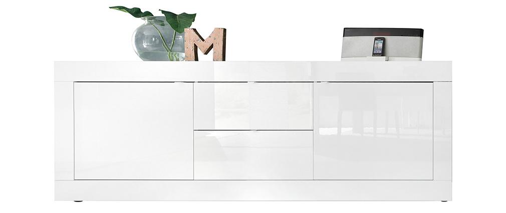 Buffet design blanc laqué brillant avec tiroirs L210 cm LATTE