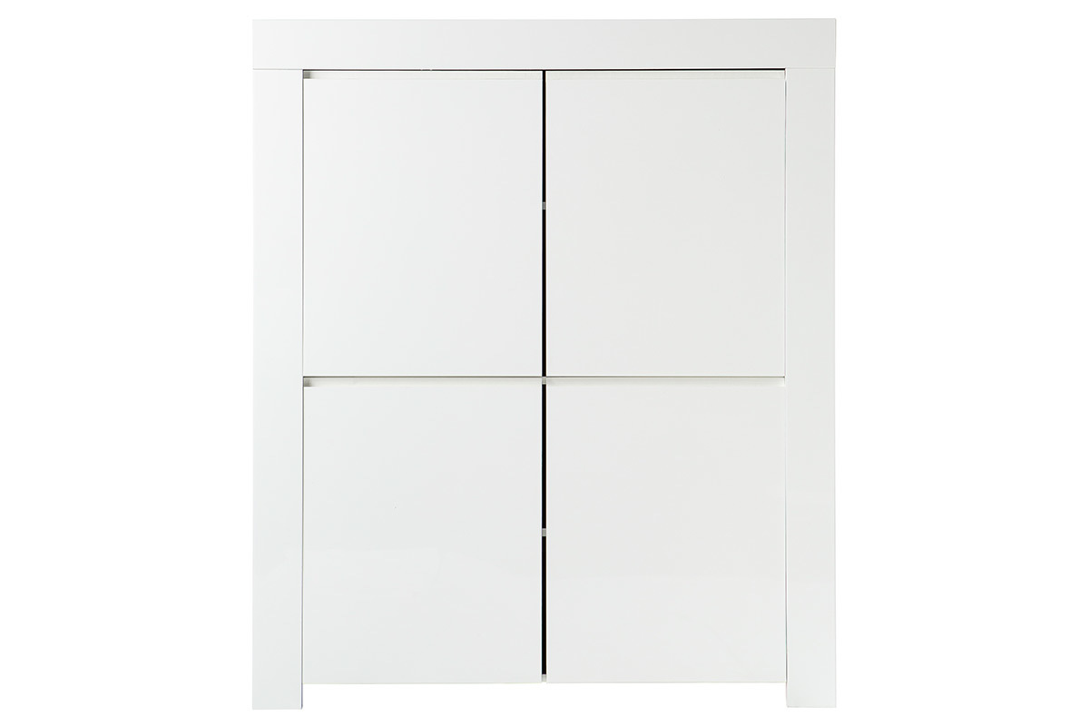 buffet design carr 4 portes laqu blanc eria miliboo. Black Bedroom Furniture Sets. Home Design Ideas