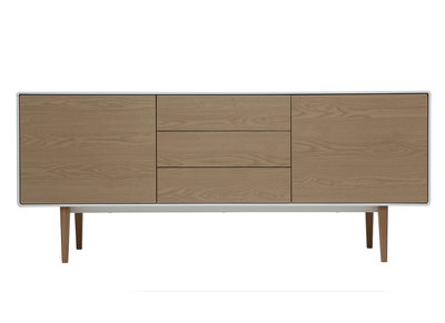 Buffet design contemporain blanc et bois ROMY