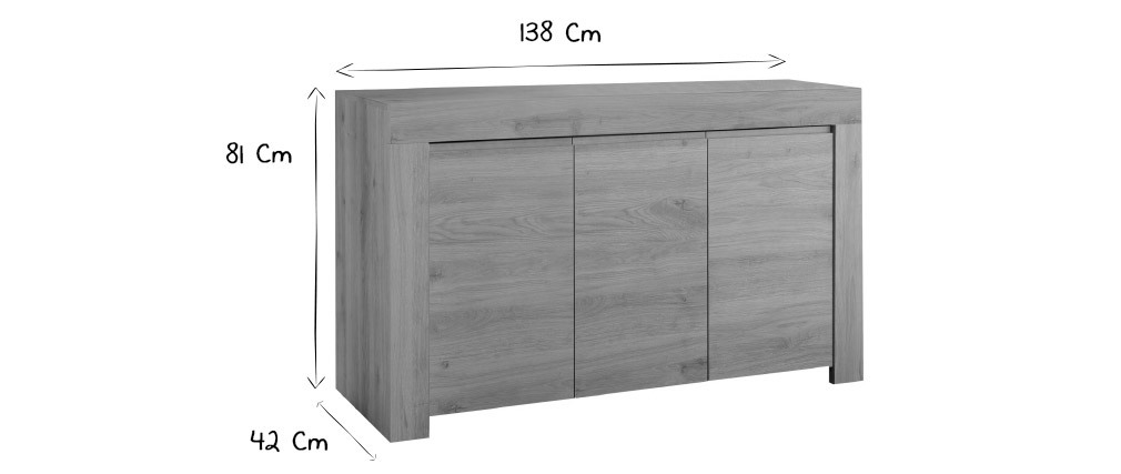 Buffet design finition chêne L138 cm TINO