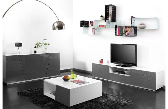 buffet design gris alessia miliboo. Black Bedroom Furniture Sets. Home Design Ideas