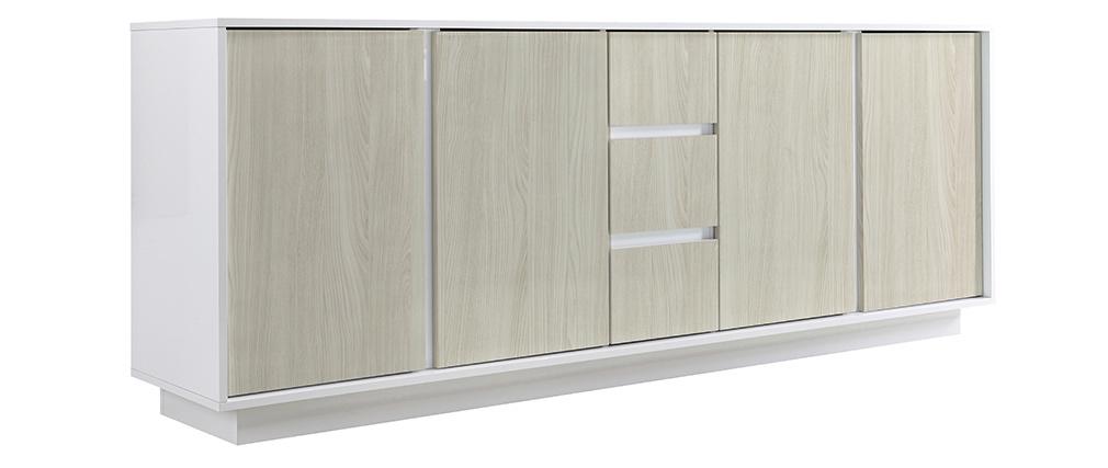 Buffet design laqué blanc brillant et effet chêne L180 cm HERO