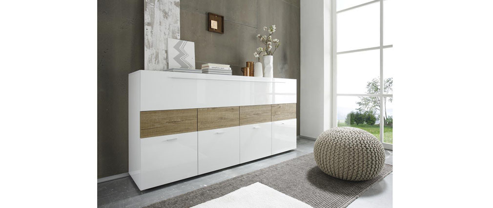 Buffet design laqué blanc et taupe MELINA