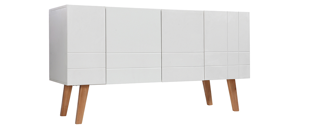 Buffet design laqu blanc mat et bois adorna miliboo - Buffet bois et blanc laque ...