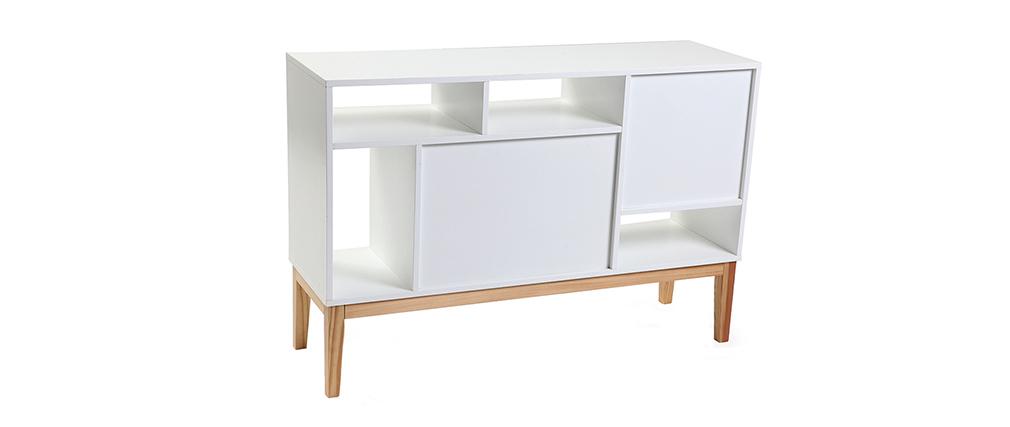 Buffet design laqué blanc mat et bois SKAL