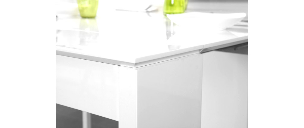 Buffet design table extensible laqué blanc PRATIK