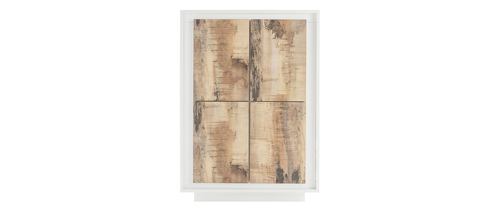 Buffet haut design 4 portes blanc et décor bois clair LAND