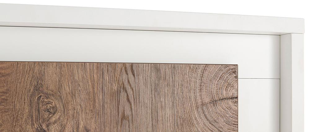 Buffet haut design 4 portes blanc et décor bois foncé LAND