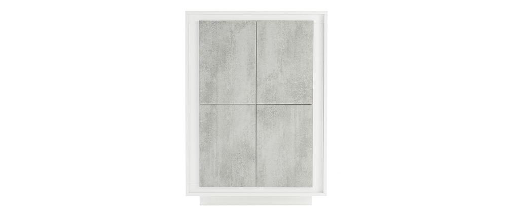 Buffet haut design 4 portes blanc et décor ciment LAND