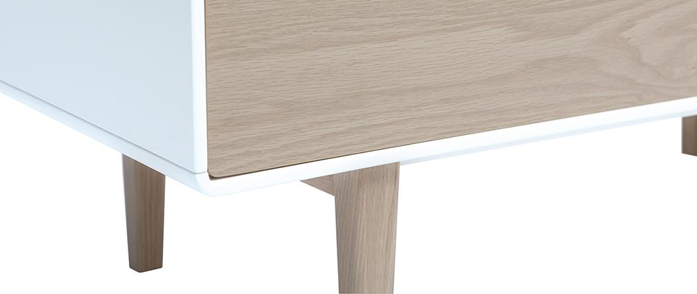 Buffet haut design contemporain blanc et bois ROMY