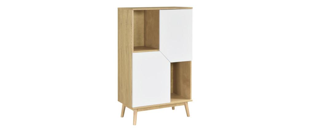 Buffet haut scandinave bois clair et blanc 2 portes TALIA