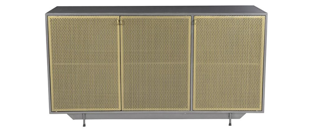 Buffet industriel 3 portes en métal doré et gris MAGIC