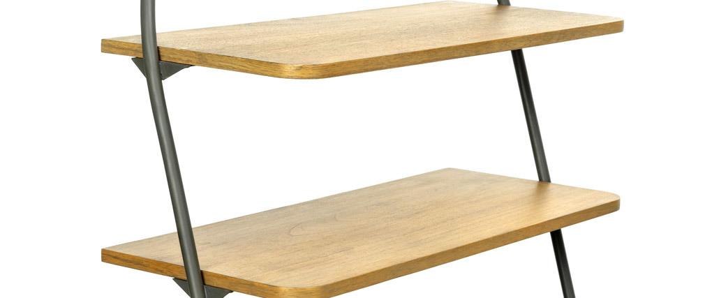 Buffet industriel avec étagères bois et métal gris MODI