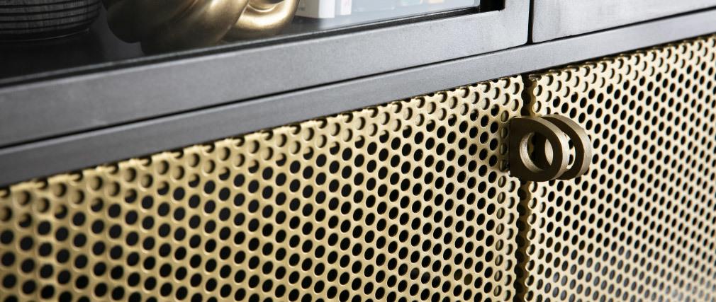 Buffet industriel haut vitré métal doré et gris MAGIC