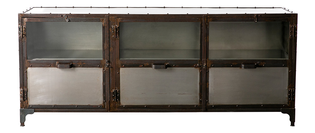 Buffet m tal industriel factory miliboo - Buffet metal industriel ...