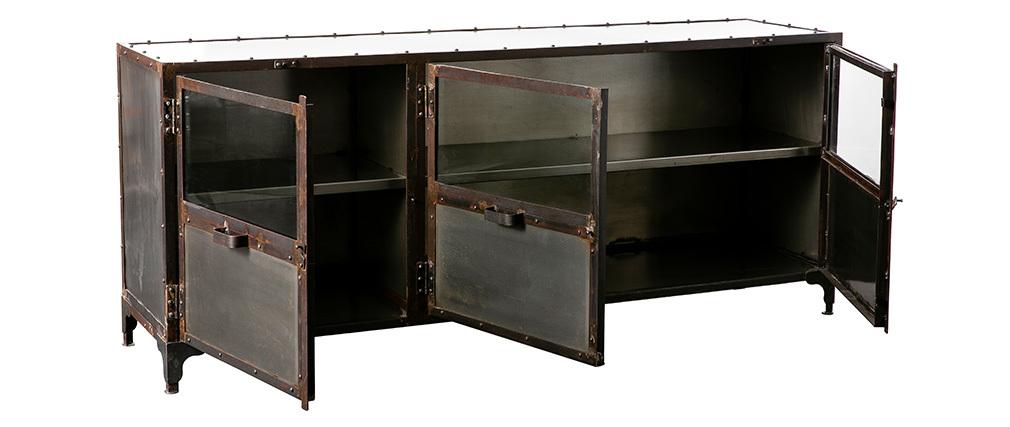 buffet m tal industriel factory miliboo. Black Bedroom Furniture Sets. Home Design Ideas