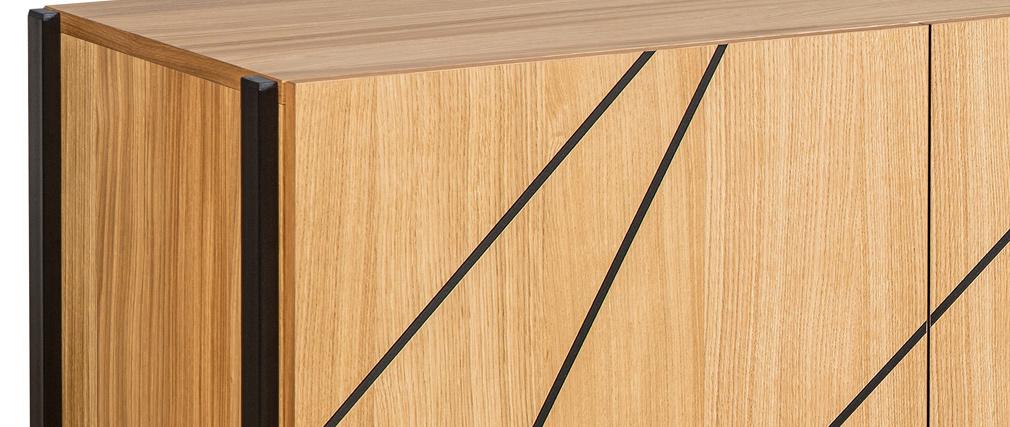 Buffet moderne avec motif gravé chêne et métal noir L175 cm ICODE