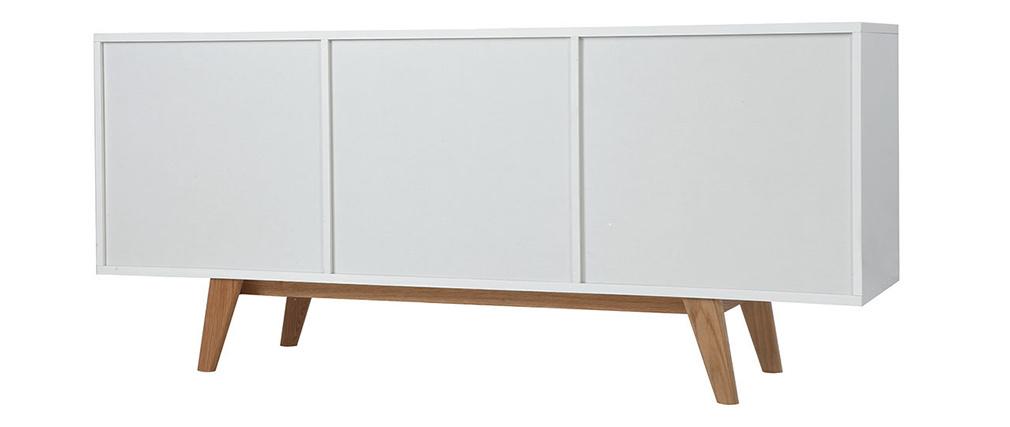 Buffet scandinave blanc brillant et frêne 160cm MELKA