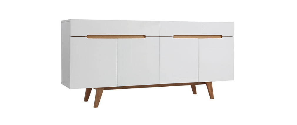 buffet scandinave blanc brillant et fr ne 180cm melka miliboo. Black Bedroom Furniture Sets. Home Design Ideas