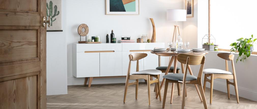 Buffet scandinave blanc brillant et frêne 180cm MELKA