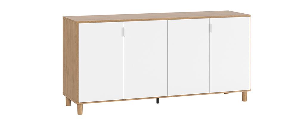 Buffet scandinave blanc et bois avec pieds chêne L160 cm VESTA