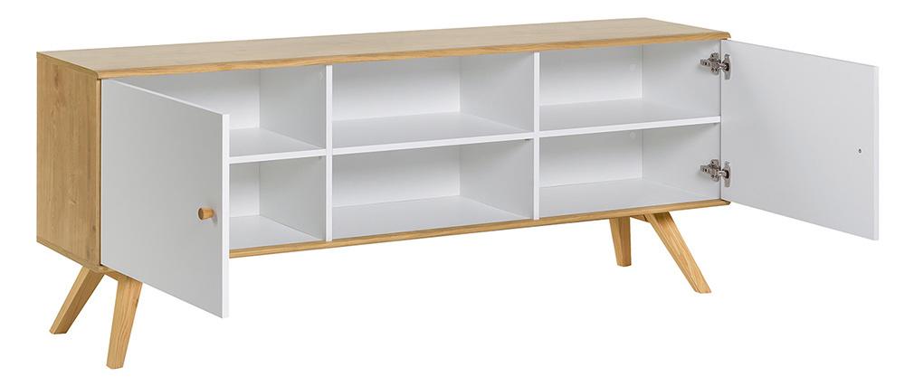 Buffet scandinave blanc et bois clair L180 cm GOLA
