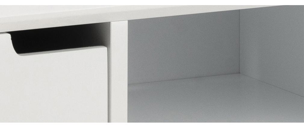 Buffet scandinave blanc mat avec niche centrale et rangements SNOOP
